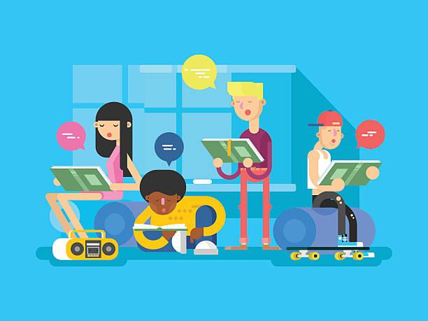 sprache schule gruppe von studenten - englischlernende stock-grafiken, -clipart, -cartoons und -symbole