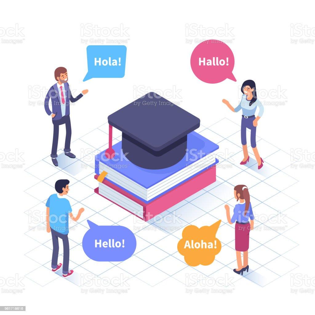 escola de idiomas - ilustração de arte em vetor