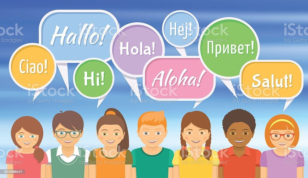 Language school with happy kids saying hello in different languages language school with happy kids saying hello in different languages royalty free language school with m4hsunfo