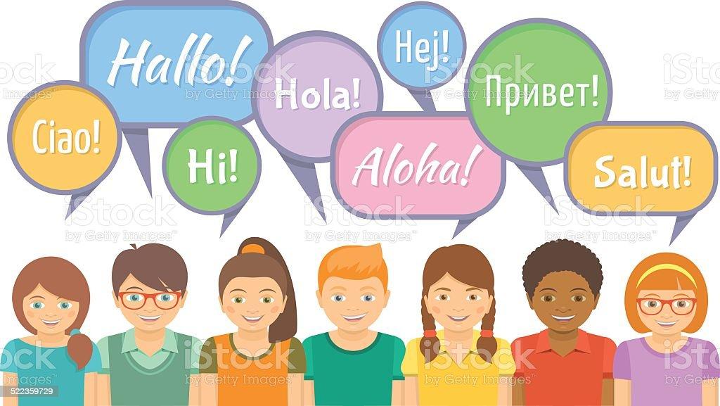 Language school with happy kids saying hello stock vector art more language school with happy kids saying hello royalty free language school with happy kids saying m4hsunfo