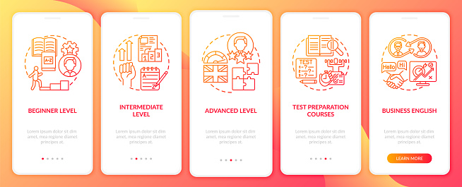 Language studying levels onboarding mobile app page screen with concepts