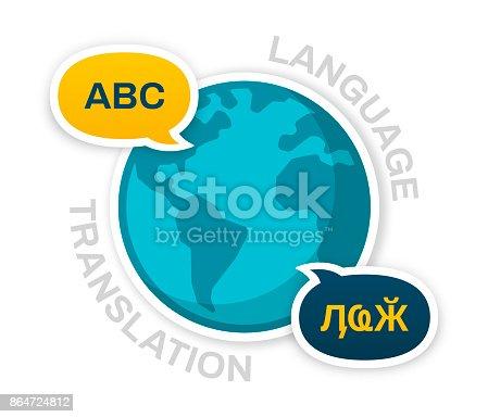 Global communication and language translation concept.