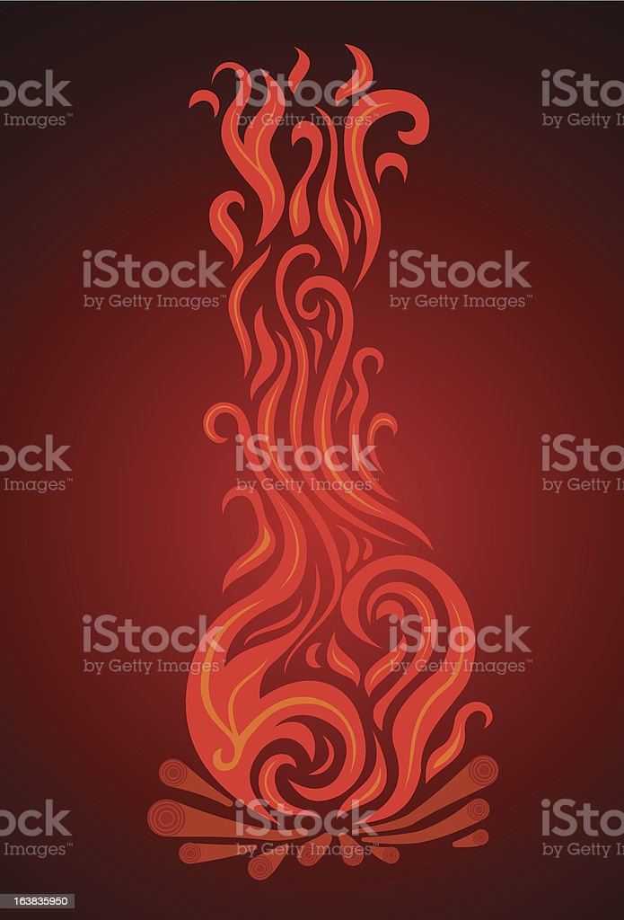 Languages of the flame campfires royalty-free stock vector art