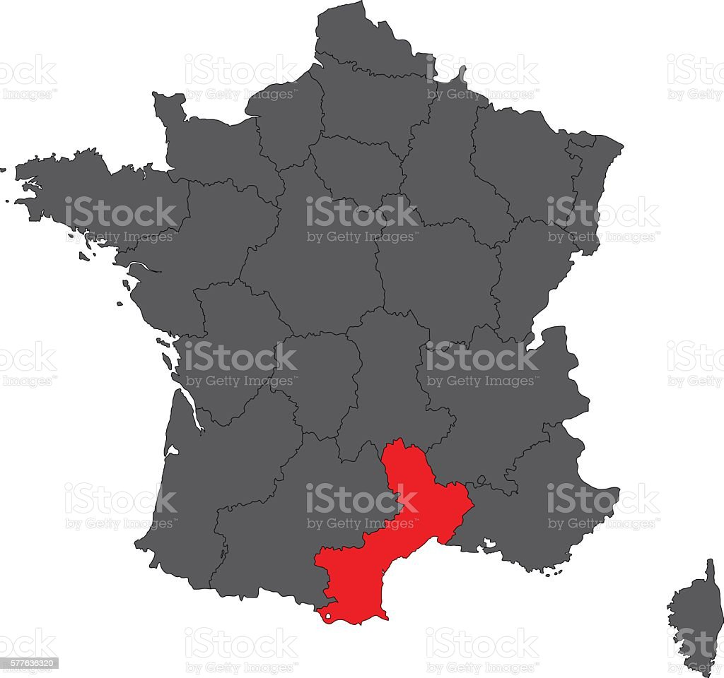 Roussillon France Map.Languedocroussillon Red On Gray France Map Vector Stock Vector Art
