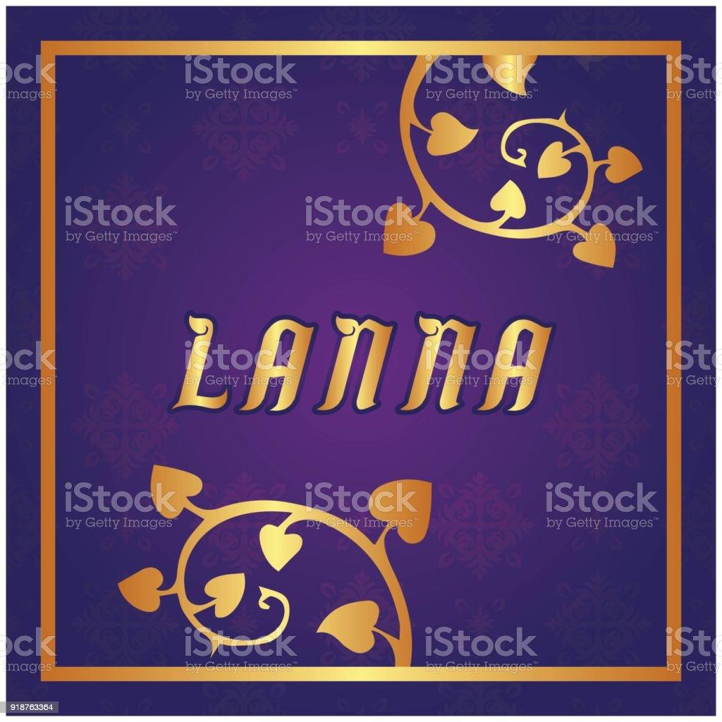 Lanna Bodhi Tree Purple Background Vector Image vector art illustration