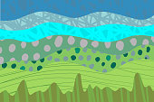 istock Lanscape abstract patch style illustration. Hand drawn with green blue colors. Cartoon style 1149750257