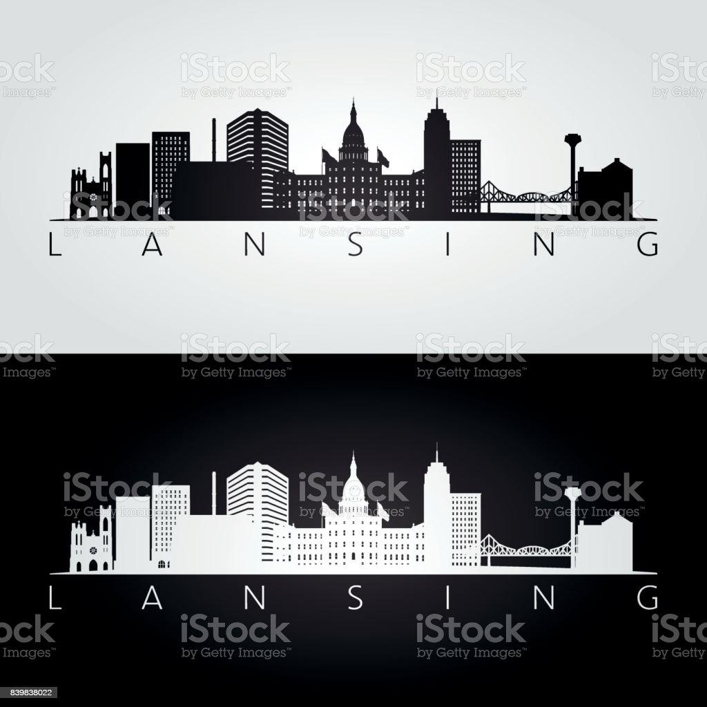 Lansing USA skyline and landmarks silhouette, black and white design, vector illustration. vector art illustration
