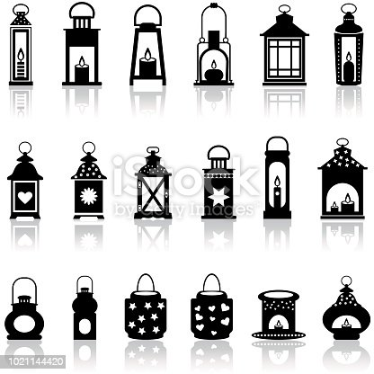 Lantern and lighting vector symbol stock illustration.