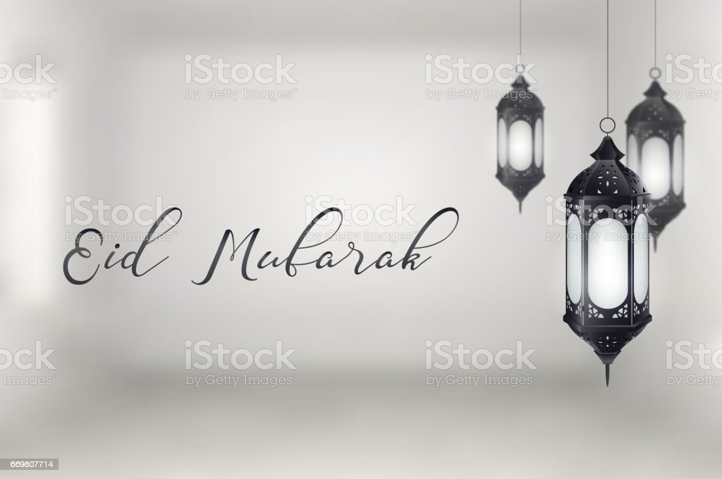 Lantern eid mubarak background vector art illustration