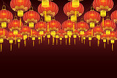 Chinese lantern hanging in a row