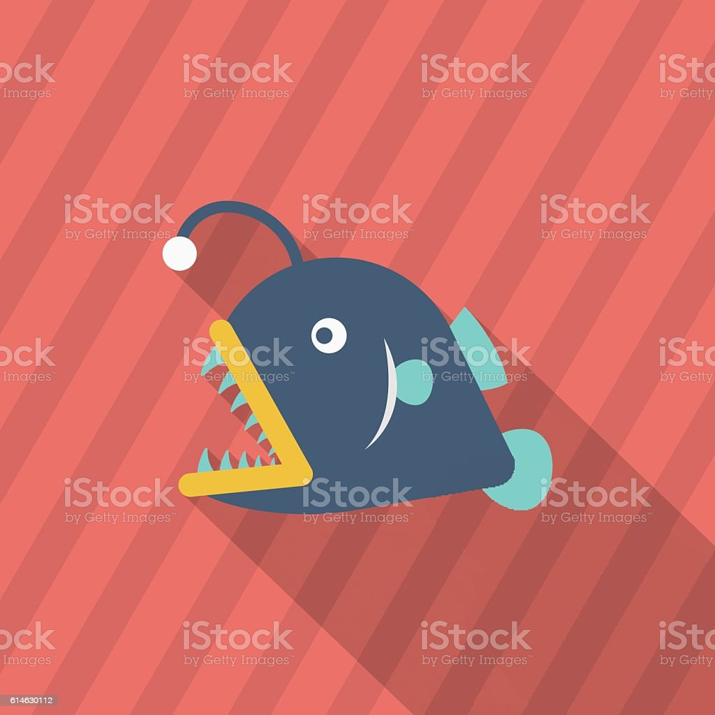 Lantern fish icon, Vector flat long shadow design. EPS10 vector art illustration