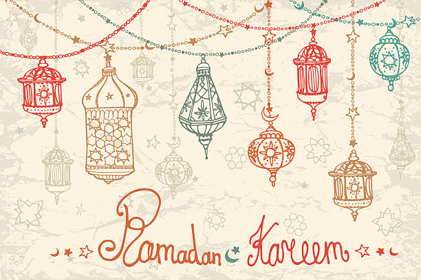 Lantern garland of Ramadan Kareem.Doodle card vector art illustration