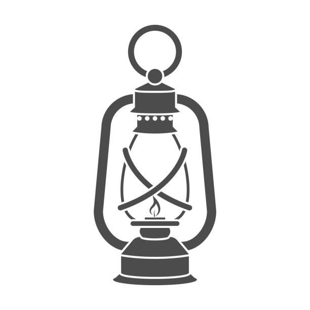 Lantern icon in black style isolated on white background. Mine - illustrazione arte vettoriale