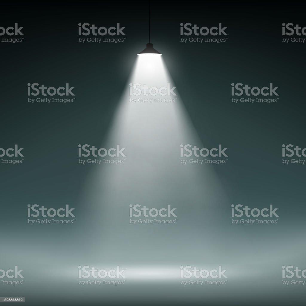 Lantern illuminates the dark space vector art illustration