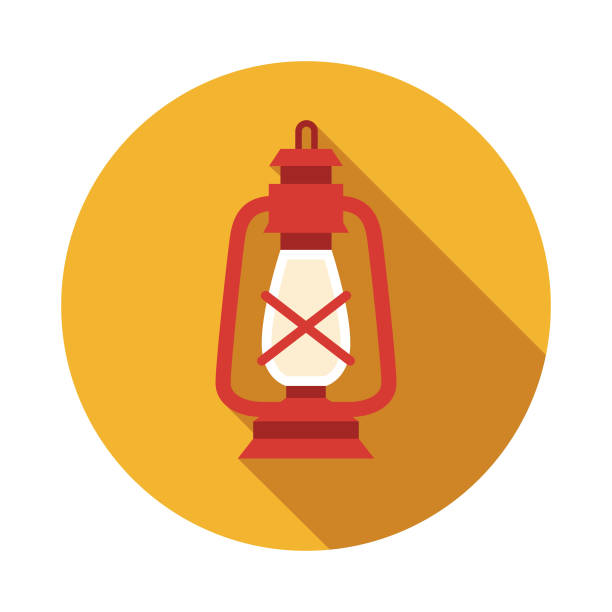 Lantern Nautical Flat Design Icon A flat design icon with a long shadow. File is built in the CMYK color space for optimal printing. Color swatches are global so it's easy to change colors across the document. lantern stock illustrations