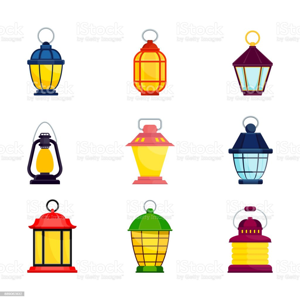 lantern oldfashioned color set vector art illustration