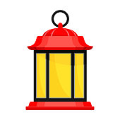 Bright old fashioned hand flashlight. Kerosene lamp or candle for lighting streets, houses. Decor for festival, birthday, wedding. Flat vector illustration. Objects isolated on white background.