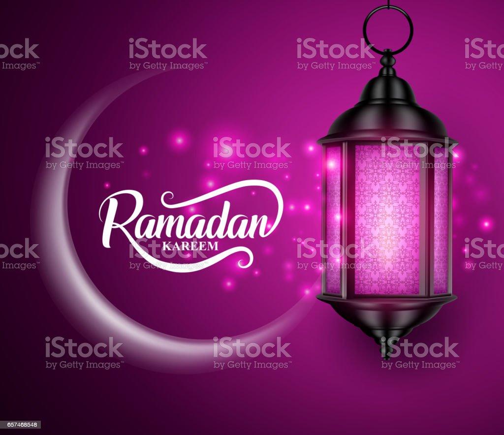Laterne oder fanous hängend mit Mondsichel für ramadan – Vektorgrafik