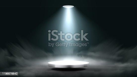 Lantern Spot Illuminates Round Scene Stage. EPS10 Vector