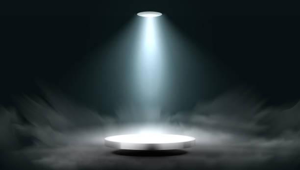 3D Lantern Spot Illuminates Round Scene Stage Lantern Spot Illuminates Round Scene Stage. EPS10 Vector spot lit stock illustrations