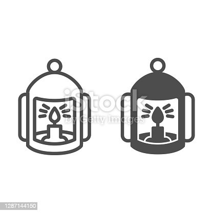 istock Lantern with candle line and solid icon, halloween concept, flashlight with candle sign on white background, lamp with flame icon in outline style for mobile concept and web design. Vector graphics. 1287144150