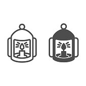 Lantern with candle line and solid icon, halloween concept, flashlight with candle sign on white background, lamp with flame icon in outline style for mobile concept and web design. Vector graphics.