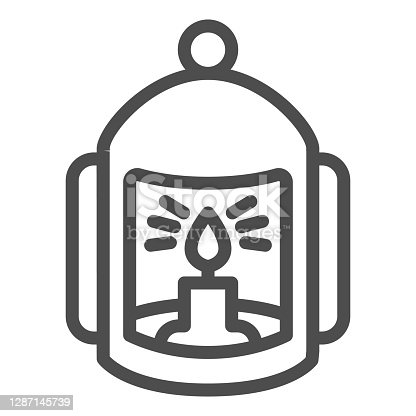 istock Lantern with candle line icon, halloween concept, flashlight with candle sign on white background, lamp with flame icon in outline style for mobile concept and web design. Vector graphics. 1287145739