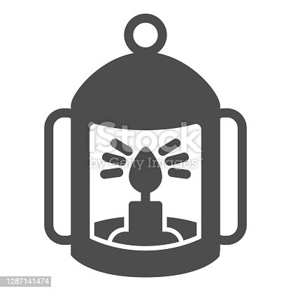 istock Lantern with candle solid icon, halloween concept, flashlight with candle sign on white background, lamp with flame icon in glyph style for mobile concept and web design. Vector graphics. 1287141474