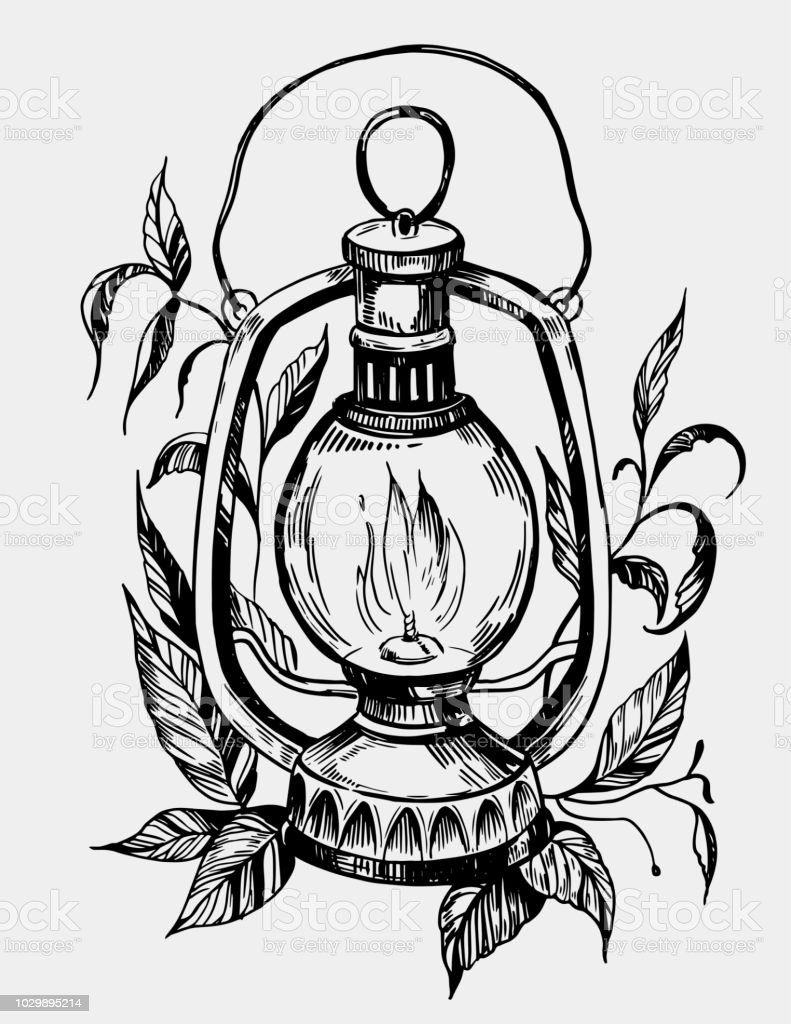 Lantern With Flowers Tattoo Sketch Hand Drawn Illustration Converted To Vector Stock Illustration Download Image Now Istock