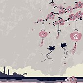Two birds meet under a cherry blossom tree decorated with Chinese lanterns. Retro print style.