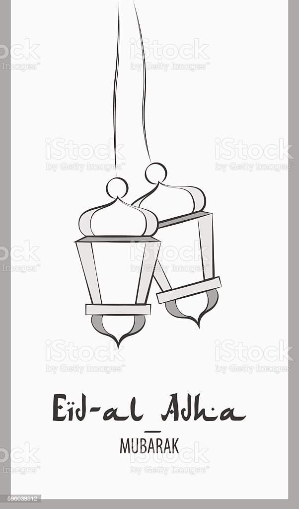 Lanterns for holiday. Black and white vector illustration vector art illustration