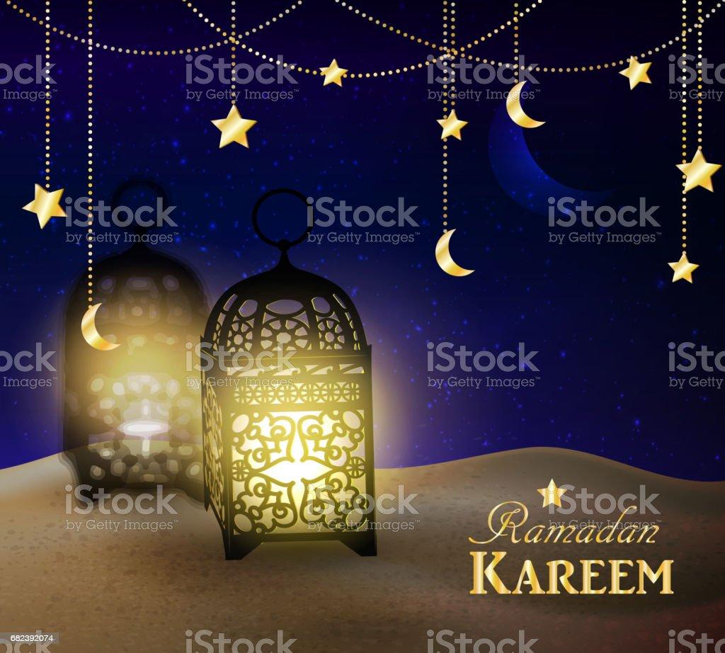 lanterns stand in the desert at night sky lanterns stand in the desert at night sky – cliparts vectoriels et plus d'images de abstrait libre de droits