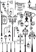 Set of silhouettes of retro and modern street lanterns