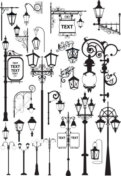 stockillustraties, clipart, cartoons en iconen met lantaarns - straatlamp