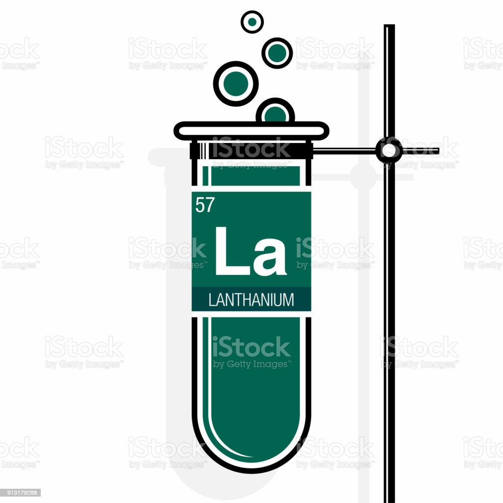 Lanthanium symbol on label in a green test tube with holder element lanthanium symbol on label in a green test tube with holder element number 57 of urtaz Images