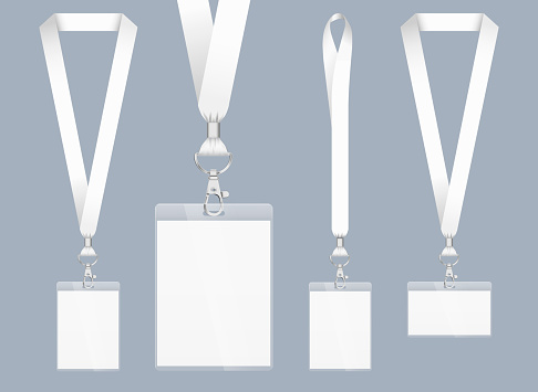 Lanyard design, realistic illustration. Identification card with ribbon. Metal closure and card with plastic. Accreditation for events, meetings, fairs, congresses and companies.