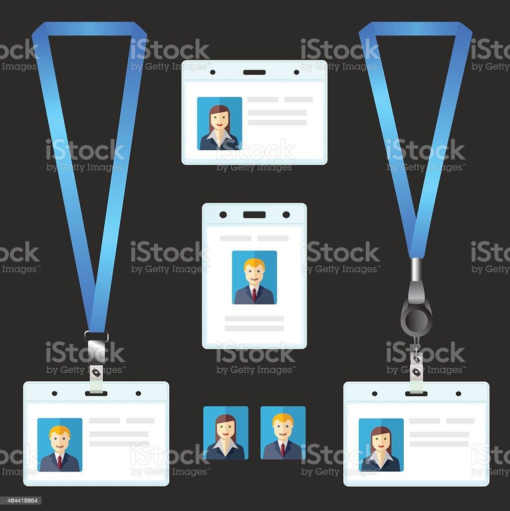 Lanyard, name tag holder end badge, id, template vector art illustration