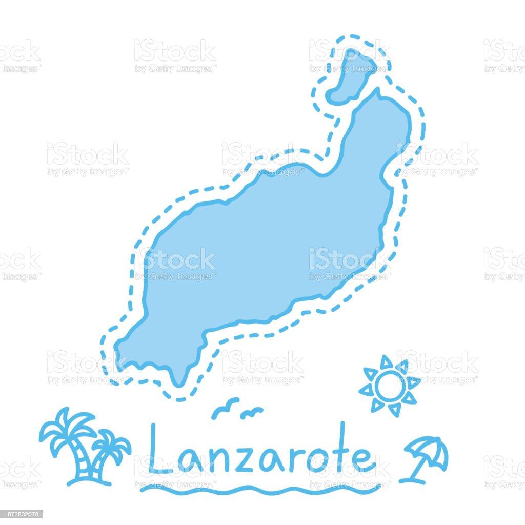 Spanien Lanzarote Karta.Karta Over Lanzarote Island Isolerade Kartografi Konceptet