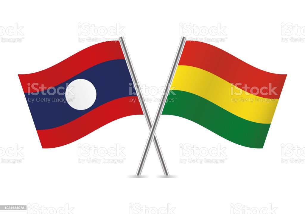 Banderas de Laos y Bolivia. Ilustración de vector. - ilustración de arte vectorial