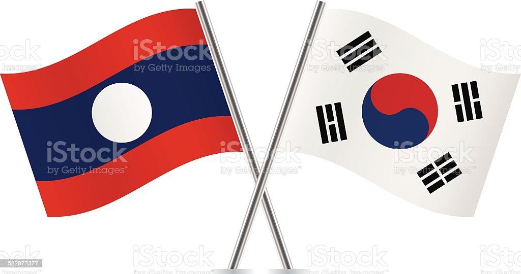 ラオス、韓国の国旗。 ベクトルます。 ベクターアートイラスト