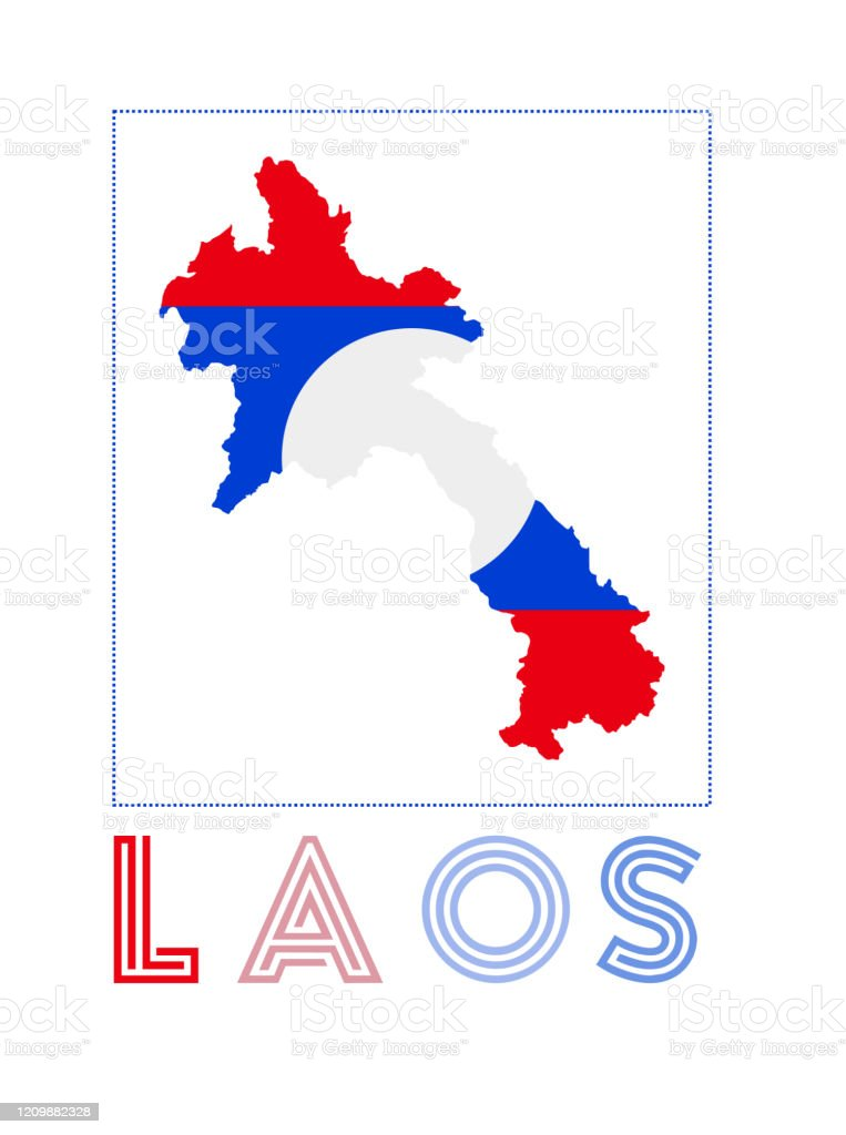 Picture of: Laos Logo Map Of Laos With Country Name And Flag Stock Illustration Download Image Now Istock