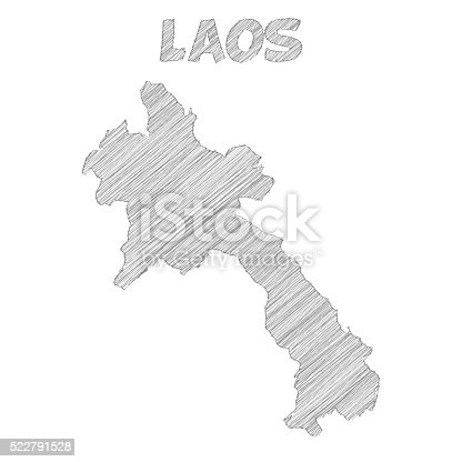 Laos Map Hand Drawn On White Background Stock Vector Art - Laos map vector