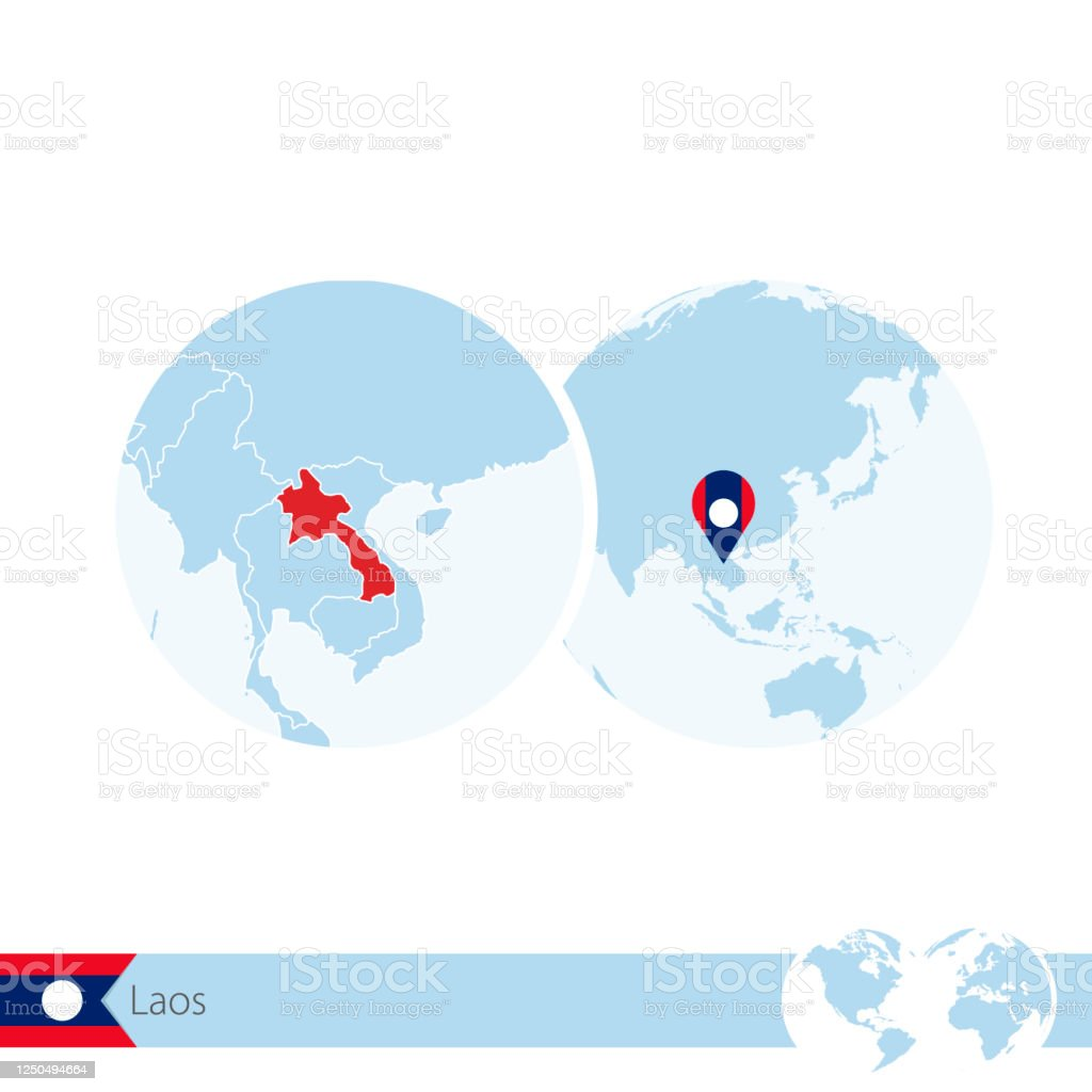 Picture of: Laos On World Globe With Flag And Regional Map Of Laos Stock Illustration Download Image Now Istock