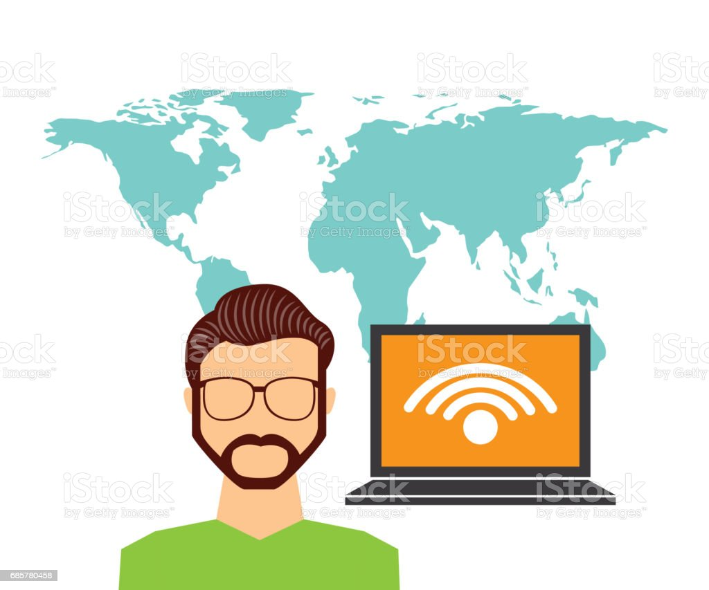 Laptop and avatar man icon. Social media design. Vector graphic royalty-free laptop and avatar man icon social media design vector graphic stock vector art & more images of adult