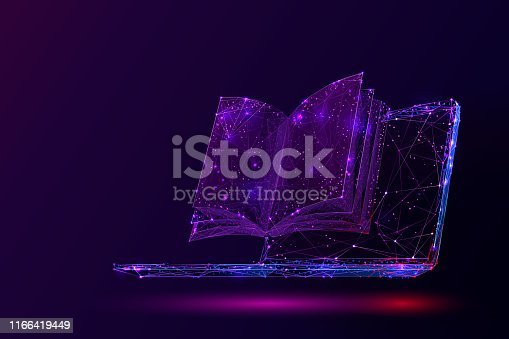 Laptop and book low poly vector illustration. 3d open textbook. Polygonal notebook display mesh art with connected dots. Modern information source, online library. Learning, self-education concept