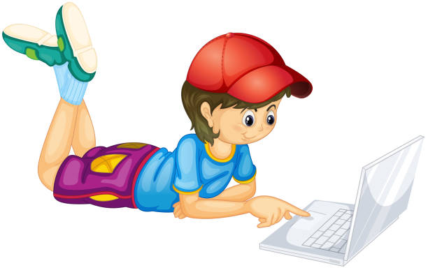 laptop und jungen - mauspad stock-grafiken, -clipart, -cartoons und -symbole