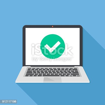 istock Laptop and check mark. Notebook and round green tick icon, checkmark on white screen. Successful update, accept, access granted, confirm, ok button, task completed concepts. Modern long shadow flat design. Vector illustration 912117198