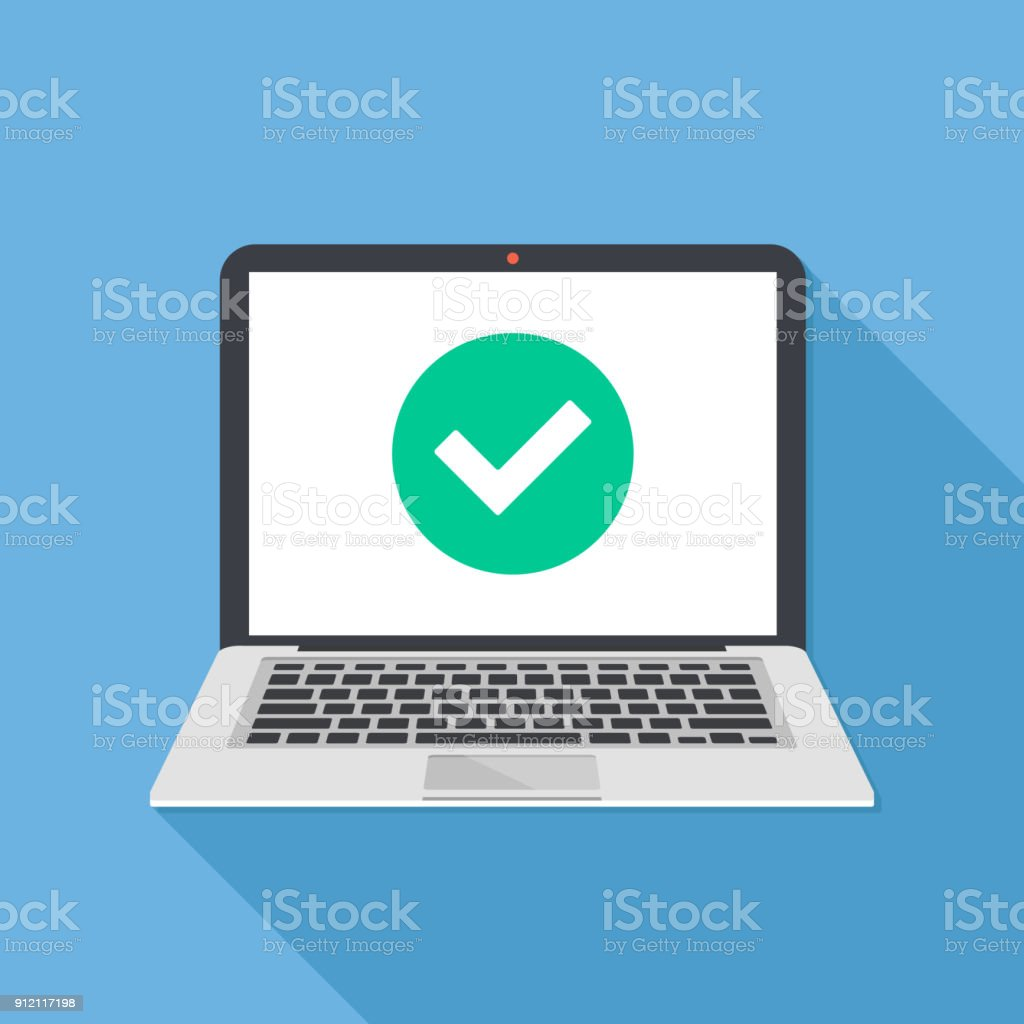 Laptop and check mark. Notebook and round green tick icon, checkmark on white screen. Successful update, accept, access granted, confirm, ok button, task completed concepts. Modern long shadow flat design. Vector illustration vector art illustration