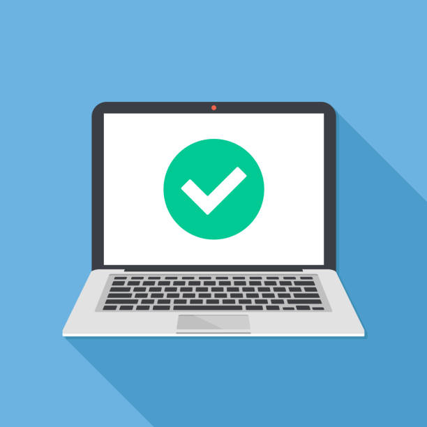 laptop and check mark. notebook and round green tick icon, checkmark on white screen. successful update, accept, access granted, confirm, ok button, task completed concepts. modern long shadow flat design. vector illustration - computer stock illustrations