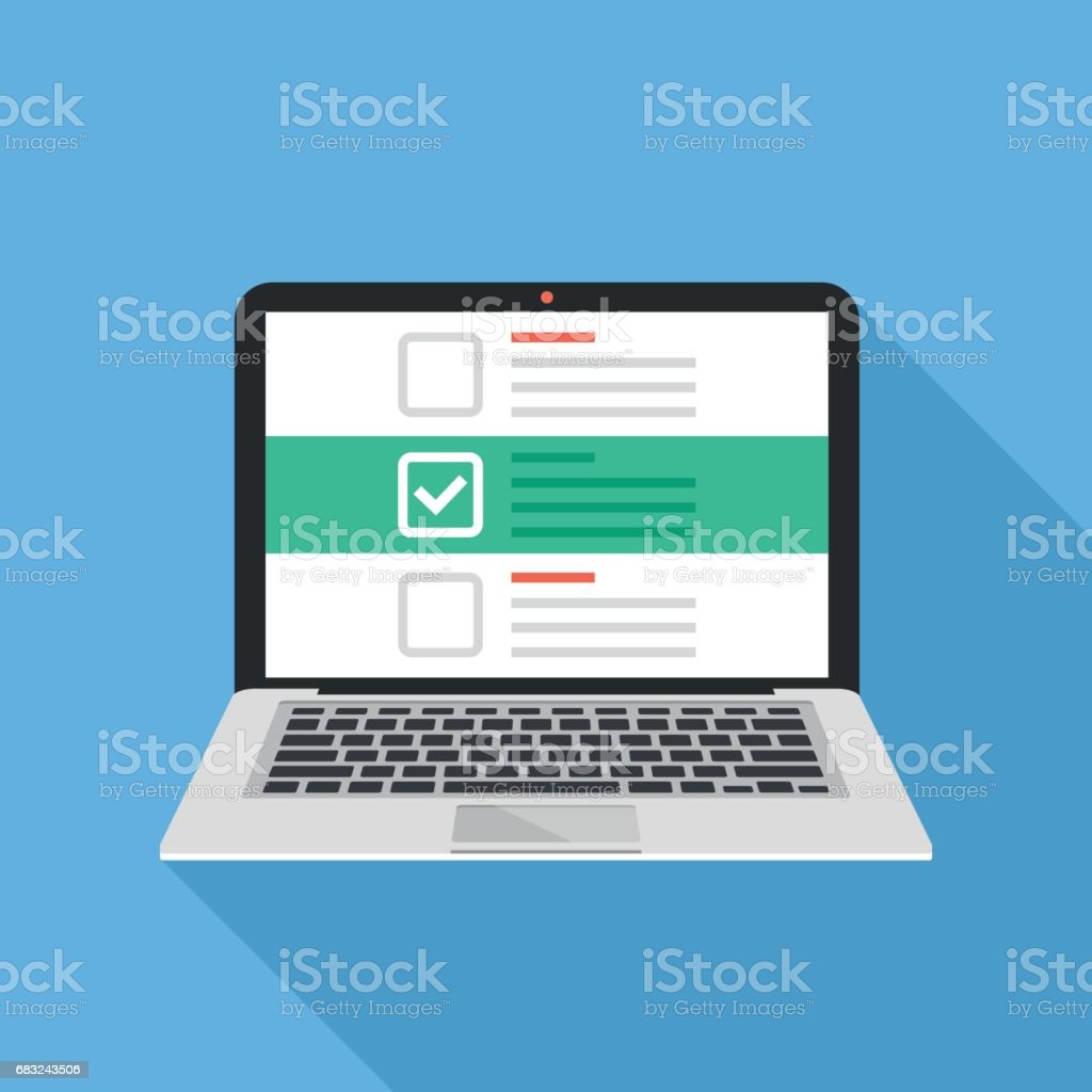 Laptop and checkboxes with check mark. Checklist, white tick on laptop screen. Choice, survey concepts. Modern flat design vector illustration royalty-free laptop and checkboxes with check mark checklist white tick on laptop screen choice survey concepts modern flat design vector illustration stock illustration - download image now